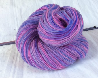 SALE Hand dyed Variegated 4ply Knitting or Crochet yarn. Sock knitting. Pinks Mauves. 'Lilac Blossoms' Colorway