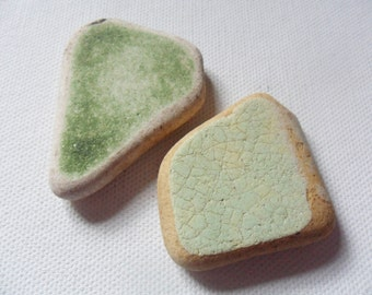 2 large green sea pottery Spittal beach northumberland UK - lovely English beach find pieces