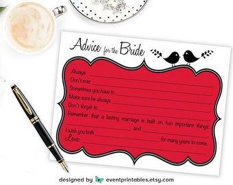 Printable Bridal Shower Mad Libs, Lovebird Advice for the Bride Cards, Red Bridal Shower Game, INSTANT DIGITAL DOWNLOAD by Event Printables