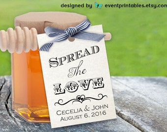 Printable Spread the Love Tags, DIY Wedding Favor Tags,  Custom Jam Favors, GIft Tags, Personalized Favour Tags