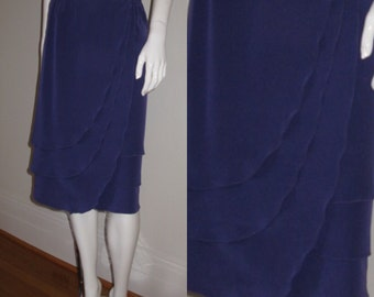 Vintage Chloe 1980s Purple Silk Ruffle Layered Wrap Skirt Waist 29