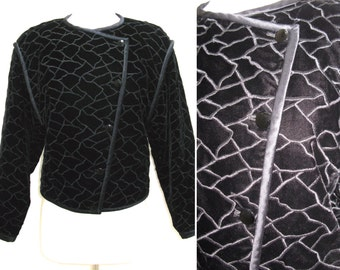 Vintage 1970s Emanuel Ungaro Parallele Black Embroidered Velvet Bomber Jacket with Asymmetrical Button Front
