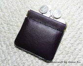 100% hand stitched handmade violet soft cowhide leather flex frame pouch for Ipod, ear buds, coin, trinket, jewelry,etc.