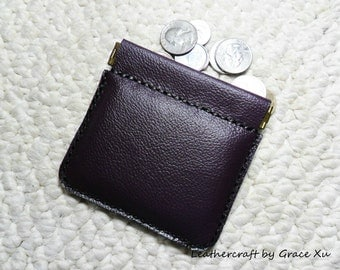 100% hand stitched handmade soft violet cowhide leather flex frame pouch for Ipod, ear buds, coin, trinket, jewelry,etc.