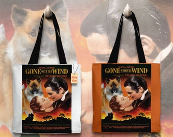Icelandic Sheepdog Art Tote Bag - Gone with the Wind Movie Poster   Perfect DOG LOVER Gift for Her Gift for Him