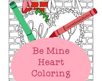 Valentine's Day Coloring Page, Adult Coloring Page, Hearts Be Mine Coloring, Heart Brick Ribbons