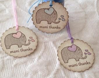 Mini Scallop Elephant Mani Thanks Tags - Nail Polish Tag - Baby Shower Favor Tag