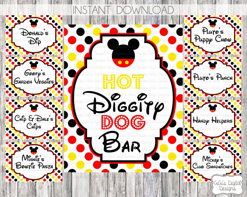 Free Printable Mickey Mouse Birthday Food Labels