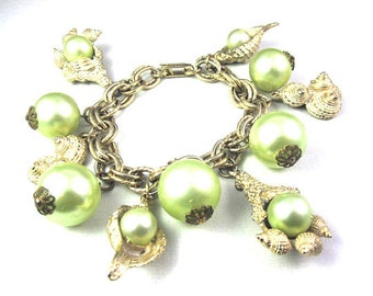 Vintage Faux Pearl and SeaShell Charm Bracelet ~ Light Green
