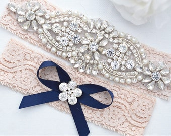 Bridal  BLUSH Beaded Applique Rhineston Pearl Garter Set. Crystal Blush Stretch Lace Wedding Garter set.