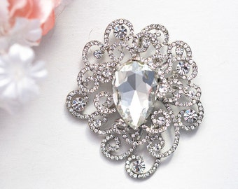 Crystal wedding bridal flower brooch , head piece