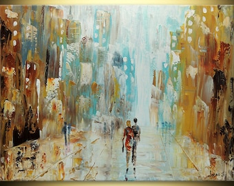 Love Couple ORIGINAL Modern Cityscape Bright Future Fine Art deco Impasto heavy texture Palette knife figure oil Painting IraSher