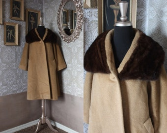 Vintage 1960's Lilli Ann Camel Hair Winter Swing Coat with Mink Collar