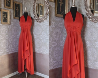 Vintage 1970's Coral Maxi Dress with Cutout Back Small