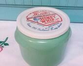 Vintage Walkers Honey Whip Jar-Mint Green- Original Lid