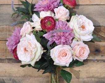 Peach Rose, Lavender Dahlia, Ruscus, Ranunculus, English Garden Rose Silk Flower Wedding Bouquet.