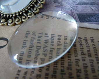 20pcs 20x30mm Clear Glass Transparent Clear Oblate Cabochon Cameo Cover Cabs