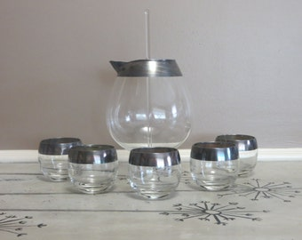 Dorothy Thorpe Silver Band Pitcher Set with 5 Roly Poly Glasses Mid Century Barware Glass Barware Sterling Silver Band Retro Bar Glasses