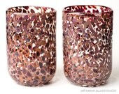 Set Of Two Hand Blown Glass Tumblers - Earthy Multicolor Dots