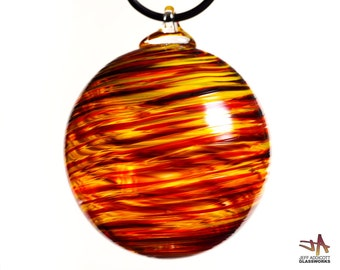 Deluxe Hand Blown Glass Ornament - Dark Ruby Red Orange and Yellow Swirls