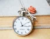 Silver Watch with Blush Rose and Eiffel Tower Necklace