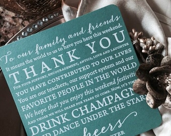 Foil or ink Letterpress Wedding Menu Cards or thank you notes with round corners, modern, contemporary, reception