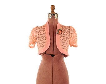 Vintage 1930's Sheer Pink Floral Lace Romantic Bohemian Open Front Cardigan Blouse Crop Shirt Top S
