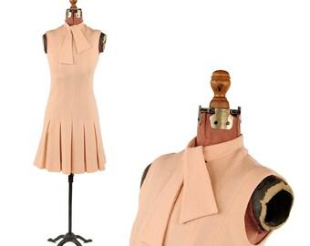 Vintage 1960's Jonathan Logan Pale Pink Flat Knit Wool Mod Shift Scooter Drop Waist Box Pleated Dress S