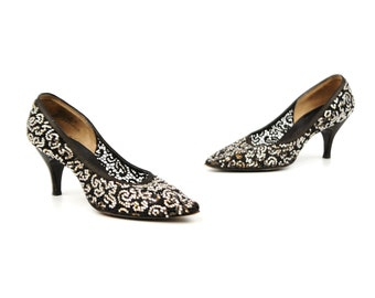 Vintage 1950's Pandora Sheer Black Lace Abstract Rhinestone Glitter Cocktail High Heel Stiletto Shoes 6.5