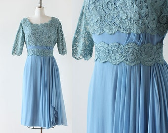 1950s Lace and Silk Dress / 1950s dress / Silk Chiffon Cocktail Party Dress / 1950s Lace Dress / Blue Lace Dress / large 32 Waist 42 Bust