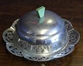 vintage 1920 chrome butter dish