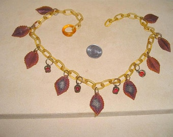 Vintage Celluloid And Glass Berry Necklace Choker 1930's Jewelry 7081