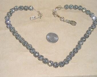 Vintage  Black Diamond Rhinestones Cluster Choker Necklace 1950''s Jewelry 6080