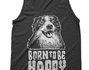 Born To Be Happy Dog Doggy Tri-Blend Running Gym Unisex Tank tops For Women Graphic Tees Mens Tshirt Tank Top Men