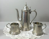 Pewter Coffee Service Sheffield England Teapot with Sugar and Creamer - Coffee Serving Set