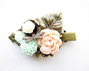 Haarclip,hairclip,Haar-Accessoire,Hair Accessories, Shabby Chic, Romantic,Braut,bride,pfirsich mint