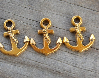 12 Gold Anchor Charms 17mm Antiqued Gold