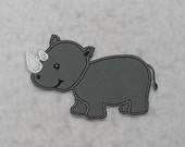 Rhino - MADE to ORDER - Choose SIZE and Color - Tutu & Shirt Supplies - fabric Iron on Applique Patch 7425