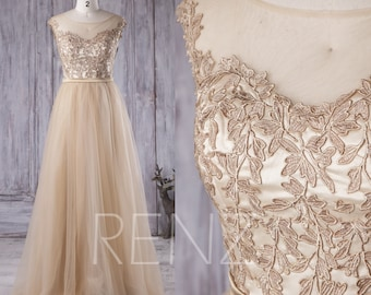 2016 Champagne Bridesmaid Dress, A Line Mesh Illusion Wedding Dress, A Line Prom Dress, Lace Formal Dress Floor Length (X008)