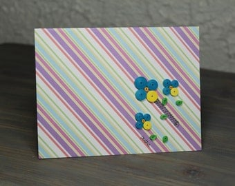 Quilled card/diagonal stripes/upcycling/quilled flowers/blank card/pink and lavender