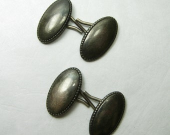 C 1920 Edwardian Art Deco Sterling Silver Cufflinks Cuff Links Antique Cufflinks Double Sided