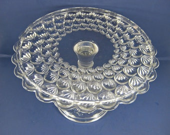 Vintage THUMBPRINT Fan CAKE STAND Thumbprint Glass Salver Scallop Rim Donut Pastry Display