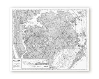 "Map of Queens, New York. 8x10, 16x20, & 24x30"" Fine Art Print"