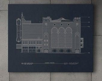 Alabama Theatre Blueprint Canvas Gallery Wrap