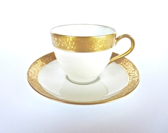 Limoges Cup and Saucer Theodore Haviland - White and Gold - Espresso Cup - Antique Porcelain- Made in France