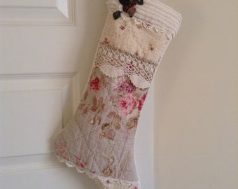 Christmas Stocking Vintage quilt and Chenille farmhouse decor by Shuggie's Attic