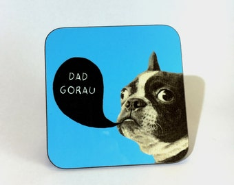 New Melamine Coaster Dad Gorau Welsh Best Dad Blue French Bulldog