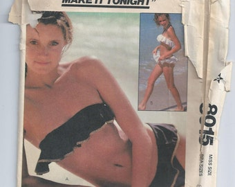 Vintage 1980s Bathing Suit With Ruffles Sewing Pattern Bust 32 McCall's 8015 UNCUT