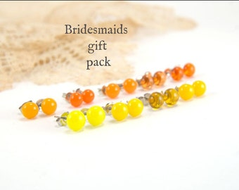 Bridesmaids gift pack (3, 4, 5, 6, or 7), YELLOW/ORANGE stud earrings. Choose your color and amount