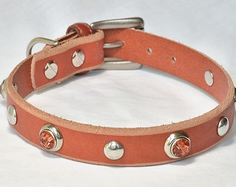 """SALE: Orange Leather Dog Collar with Orange Crystals, Fancy Leather Dog Collar, Leather Dog Collar, Will fit 14 - 15"""" inches"""
